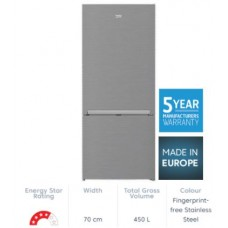 Beko 450L Stainless Steel Bottom Mount Fridge/Freezer: BBM450X