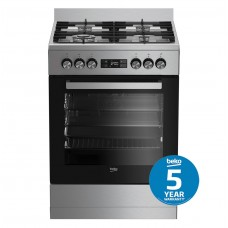 Beko 60cm Stainless Steel Dual Fuel Upright Cooker: BFC60GMX