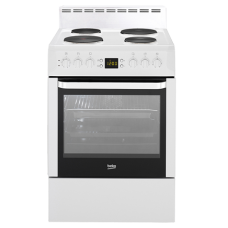 Beko 60cm White Solid Hotplate Free Standing Cooker: CSM86300GW